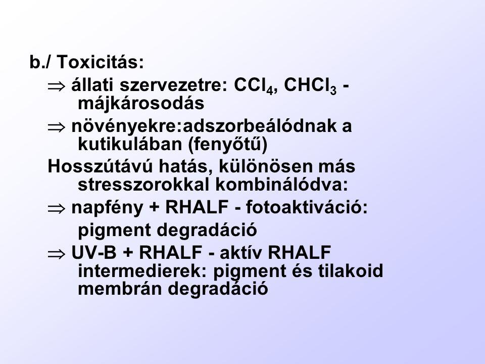 b./ Toxicitás:  állati szervezetre: CCl4, CHCl3 - májkárosodás.  növényekre:adszorbeálódnak a kutikulában (fenyőtű)