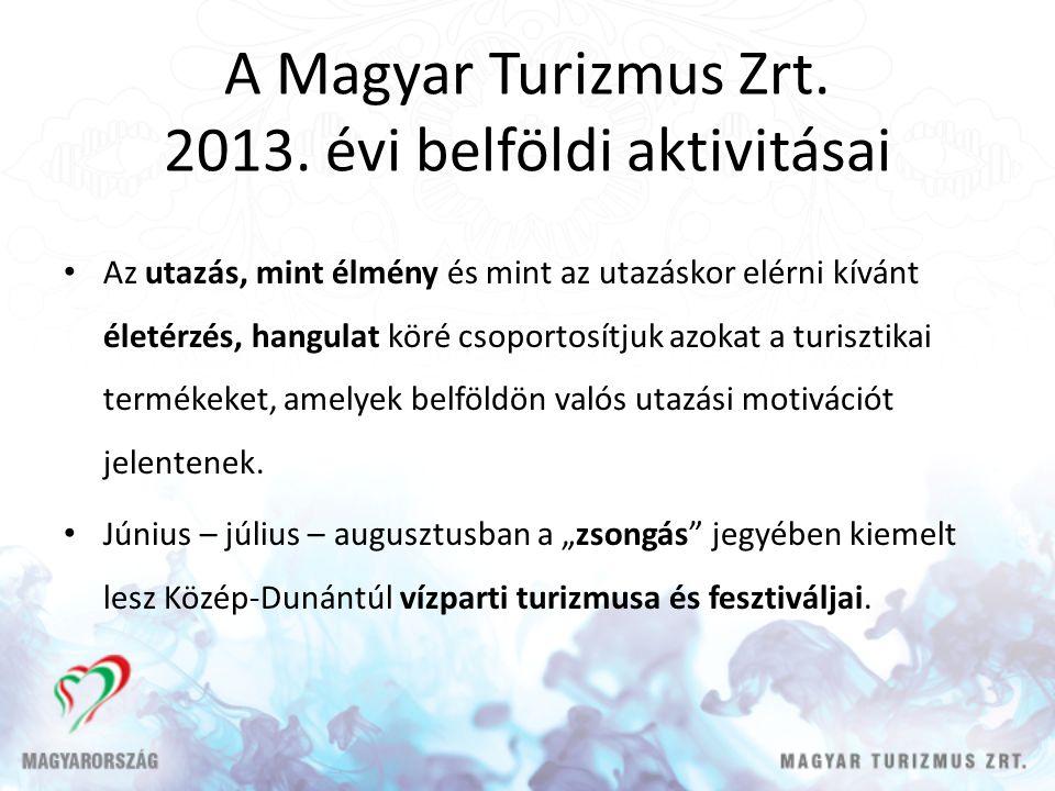 A Magyar Turizmus Zrt. 2013. évi belföldi aktivitásai