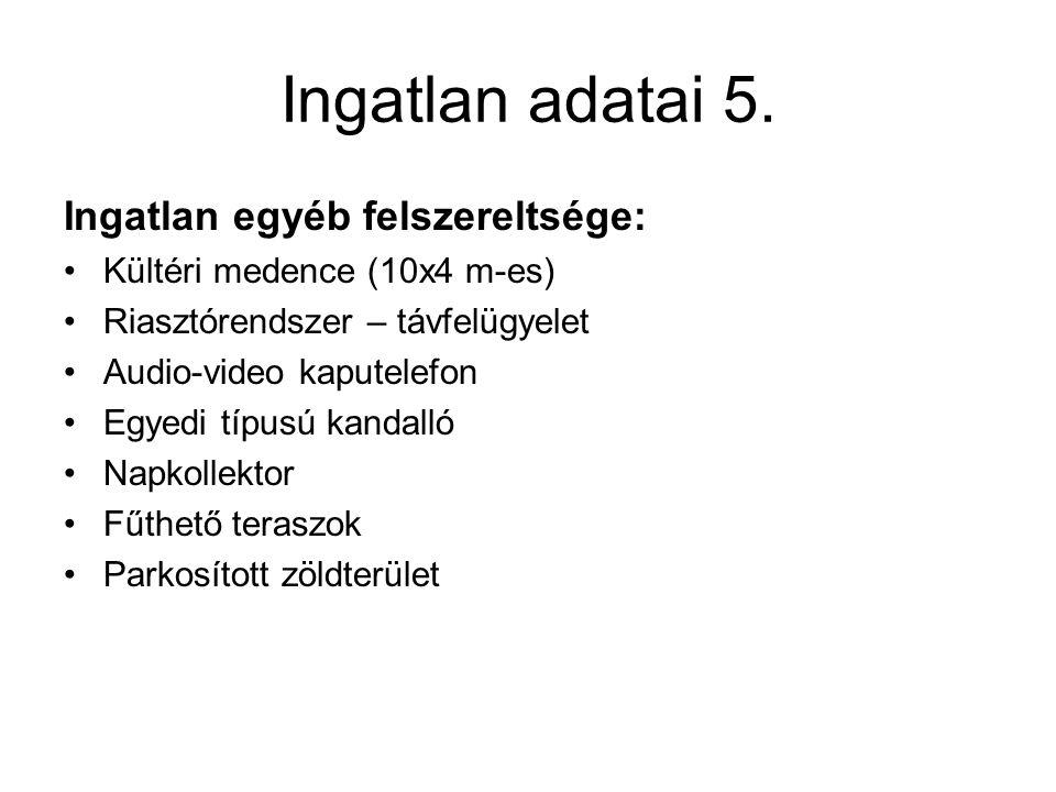Ingatlan adatai 5. Ingatlan egyéb felszereltsége: