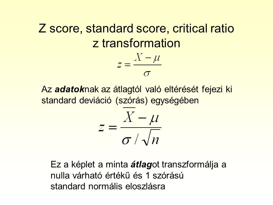 Z score, standard score, critical ratio z transformation