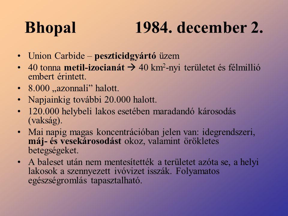 Bhopal 1984. december 2. Union Carbide – peszticidgyártó üzem