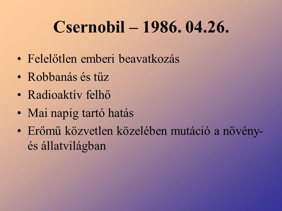 Csernobil – 1986. 04.26. Felelőtlen emberi beavatkozás Robbanás és tűz