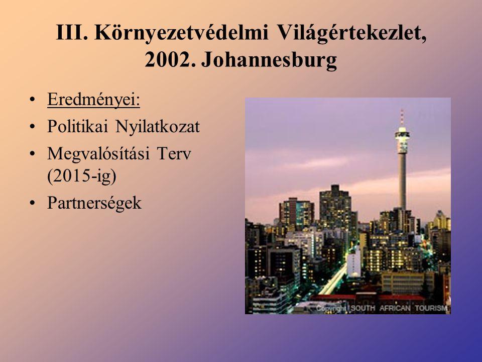III. Környezetvédelmi Világértekezlet, 2002. Johannesburg
