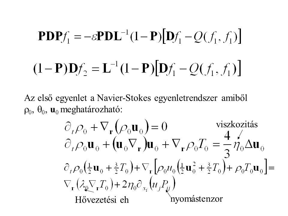 Az első egyenlet a Navier-Stokes egyenletrendszer amiből