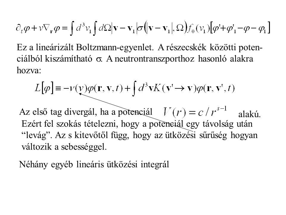 Ez a lineárizált Boltzmann-egyenlet. A részecskék közötti poten-