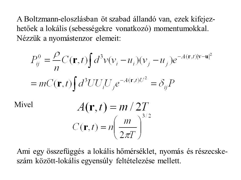A Boltzmann-eloszlásban öt szabad állandó van, ezek kifejez-hetőek a lokális (sebességekre vonatkozó) momentumokkal. Nézzük a nyomástenzor elemeit: