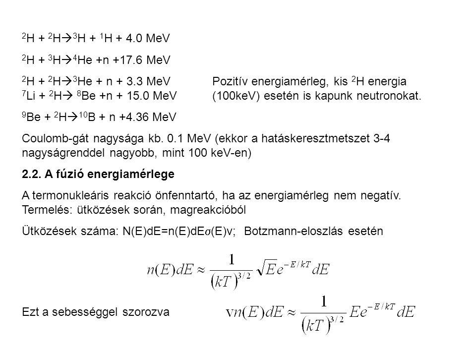 2H + 2H3H + 1H + 4.0 MeV 2H + 3H4He +n +17.6 MeV.