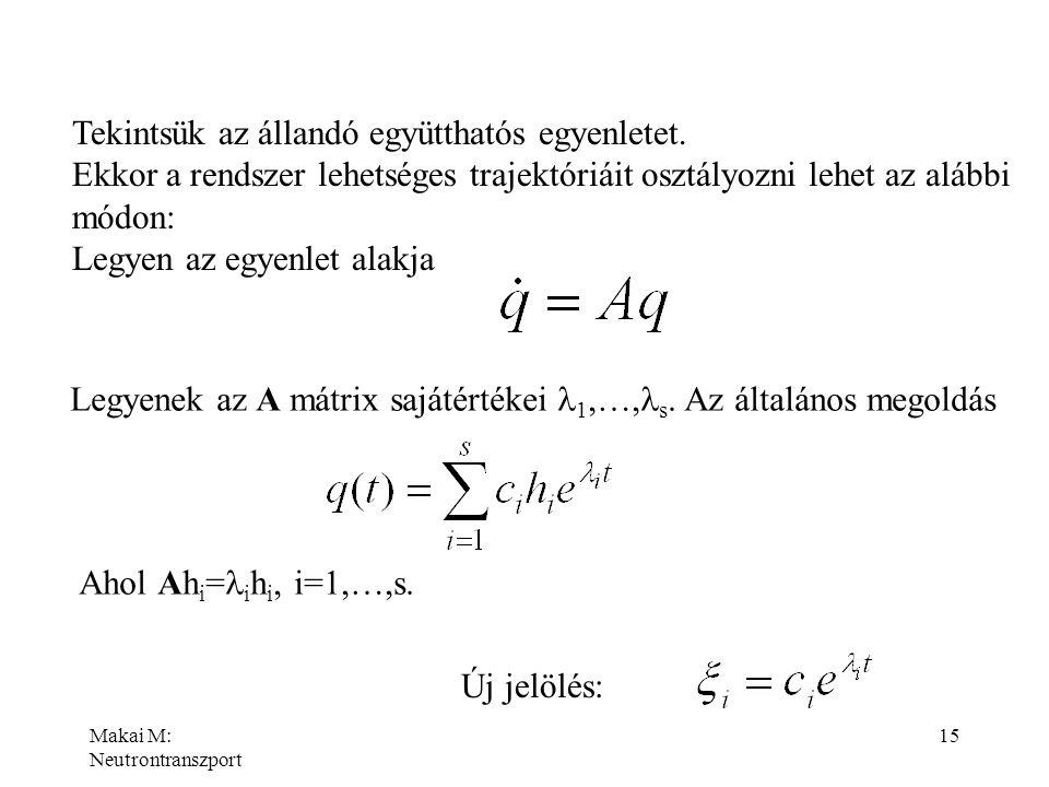 Tekintsük az állandó együtthatós egyenletet.