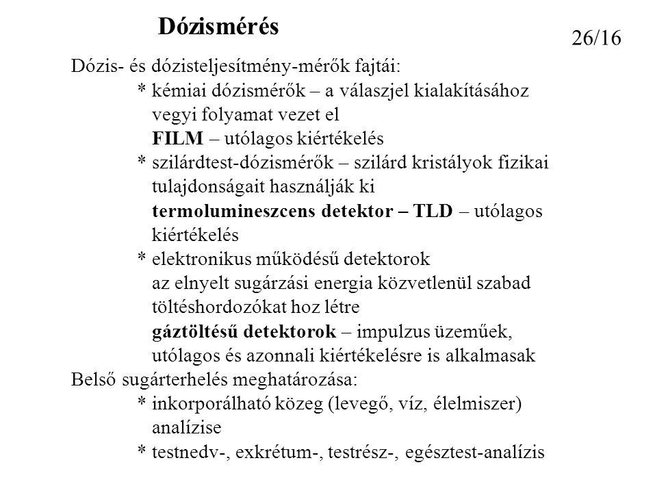 Dózismérés 26/16 Dózis- és dózisteljesítmény-mérők fajtái: