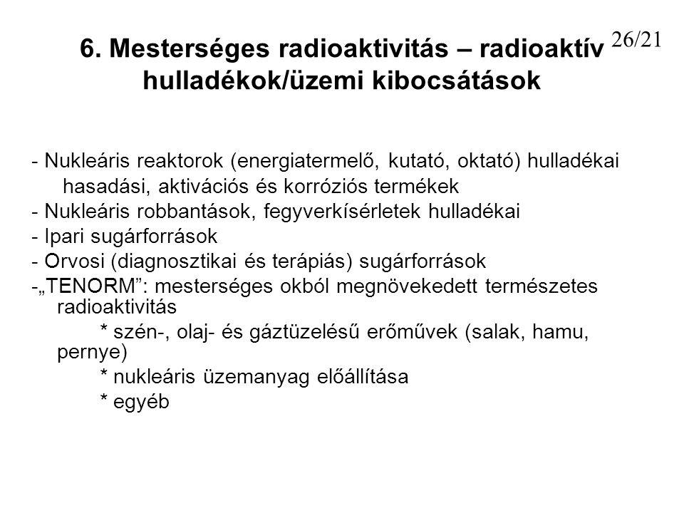 6. Mesterséges radioaktivitás – radioaktív hulladékok/üzemi kibocsátások