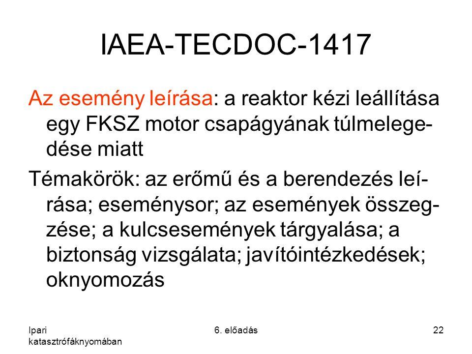 IAEA-TECDOC-1417 Az esemény leírása: a reaktor kézi leállítása egy FKSZ motor csapágyának túlmelege-dése miatt.