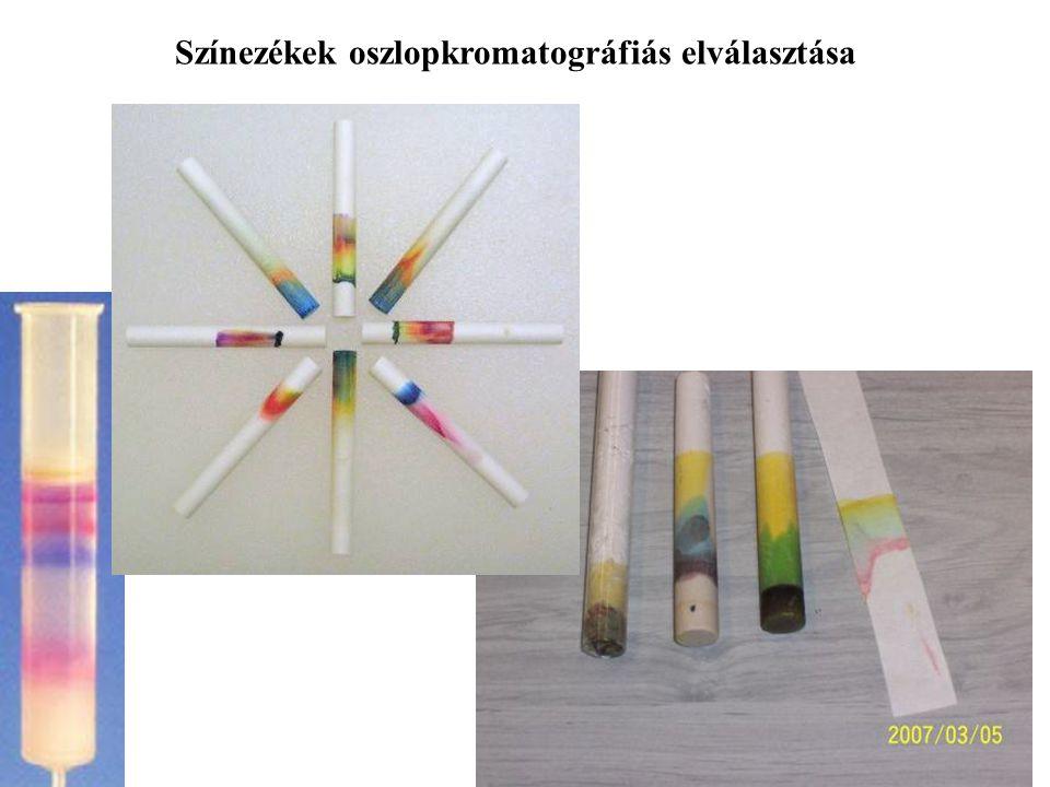 Színezékek oszlopkromatográfiás elválasztása