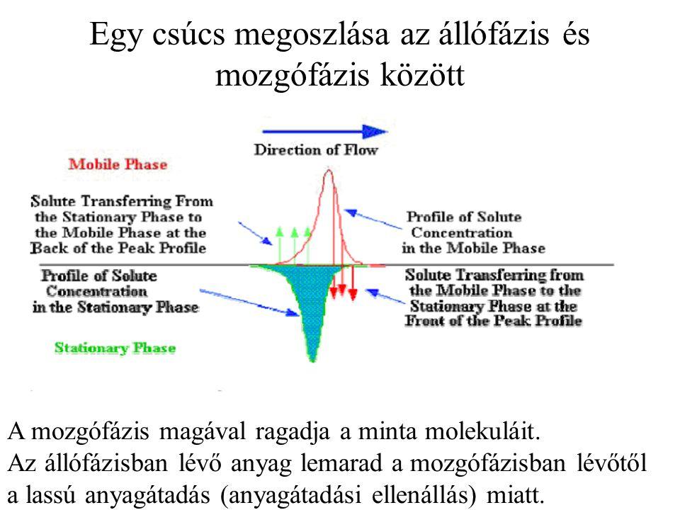 Egy csúcs megoszlása az állófázis és mozgófázis között