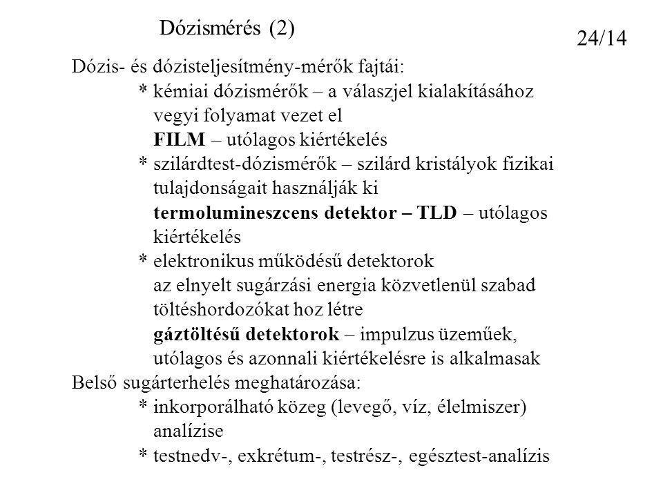 Dózismérés (2) 24/14 Dózis- és dózisteljesítmény-mérők fajtái:
