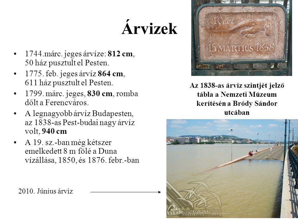 Árvizek 1744.márc. jeges árvíze: 812 cm, 50 ház pusztult el Pesten.