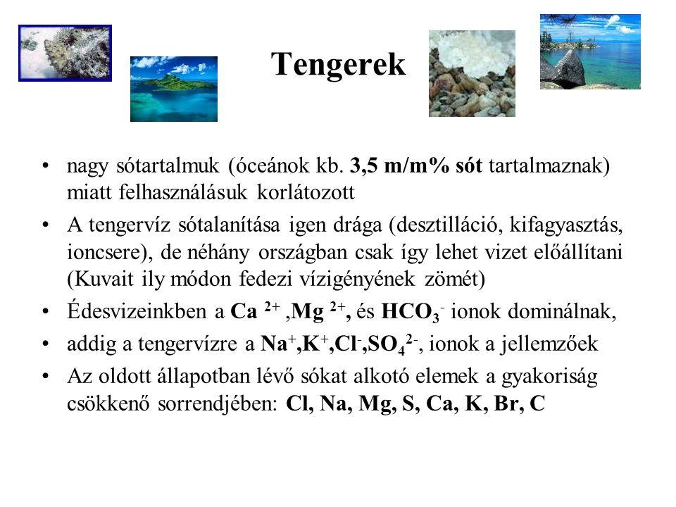 Tengerek nagy sótartalmuk (óceánok kb. 3,5 m/m% sót tartalmaznak) miatt felhasználásuk korlátozott.
