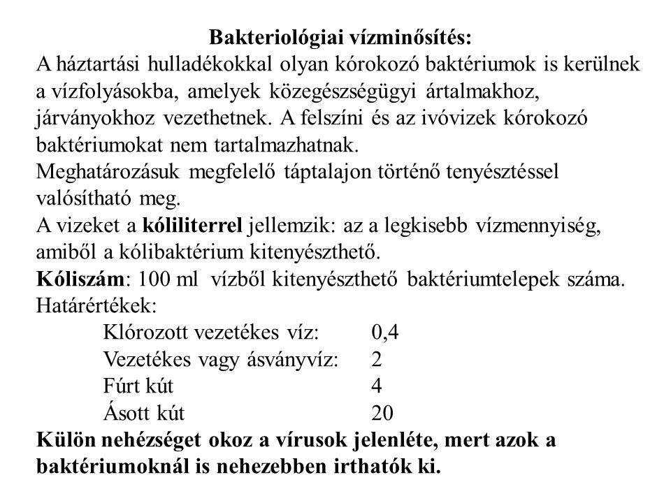 Bakteriológiai vízminősítés: