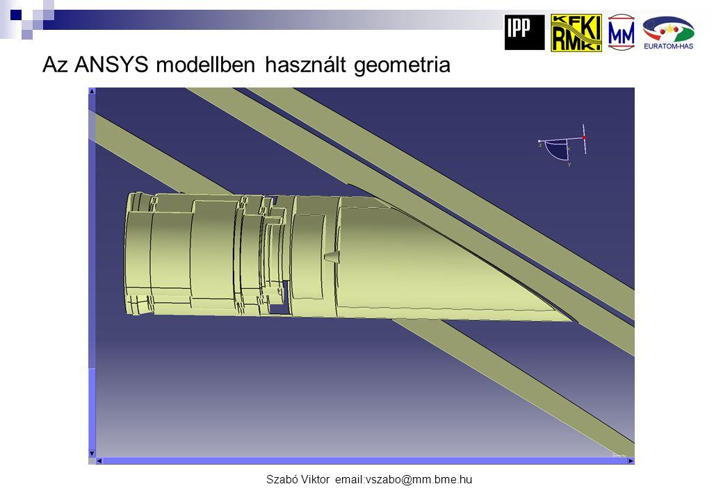 Az ANSYS modellben használt geometria
