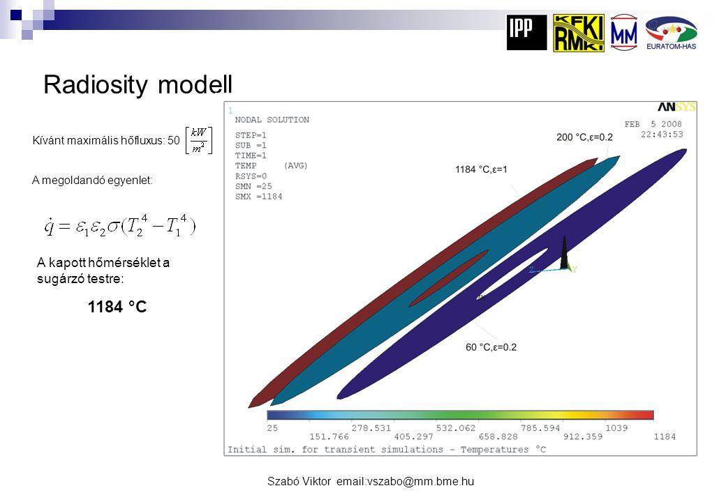 Radiosity modell 1184 °C A kapott hőmérséklet a sugárzó testre: