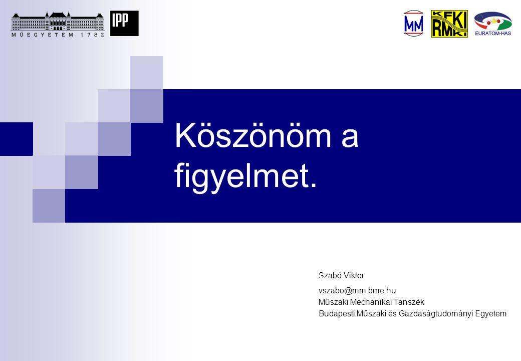 Köszönöm a figyelmet. Szabó Viktor vszabo@mm.bme.hu