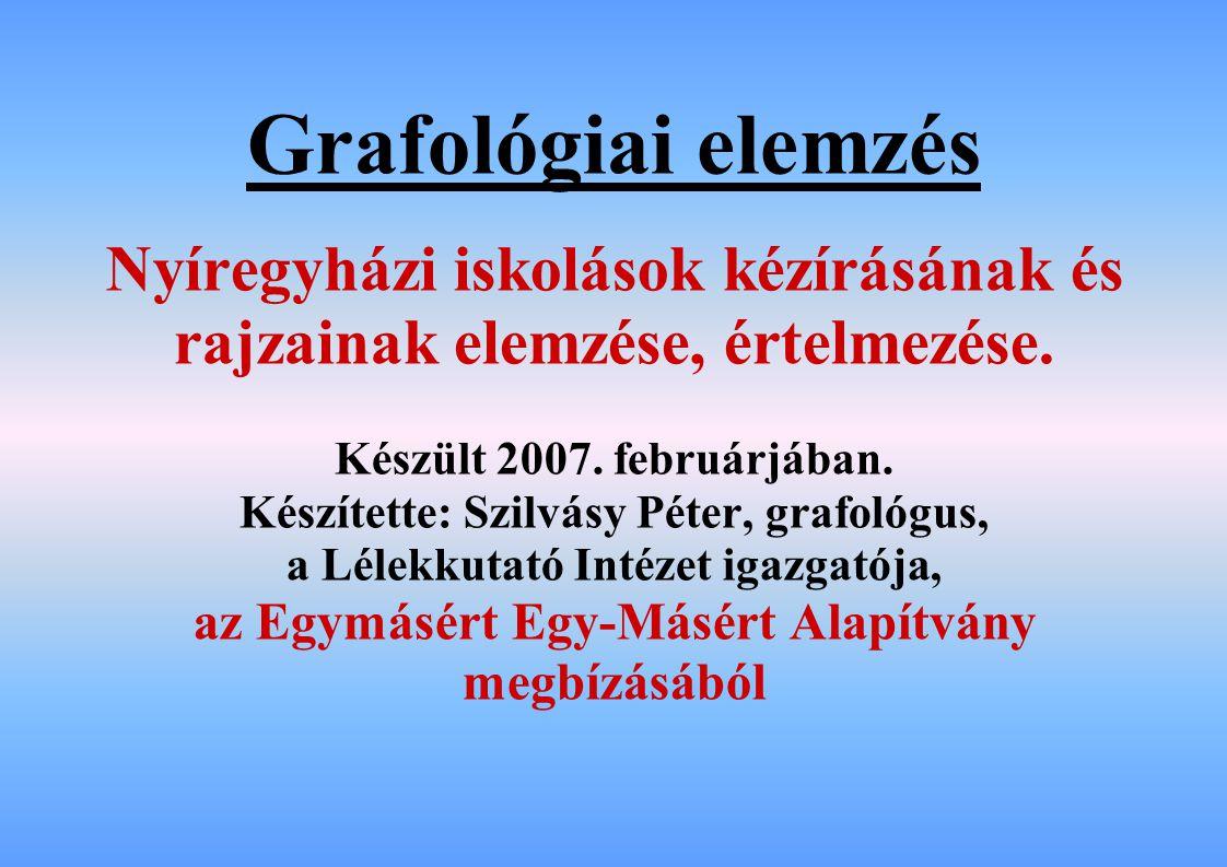 Grafológiai elemzés Nyíregyházi iskolások kézírásának és rajzainak elemzése, értelmezése. Készült 2007. februárjában.