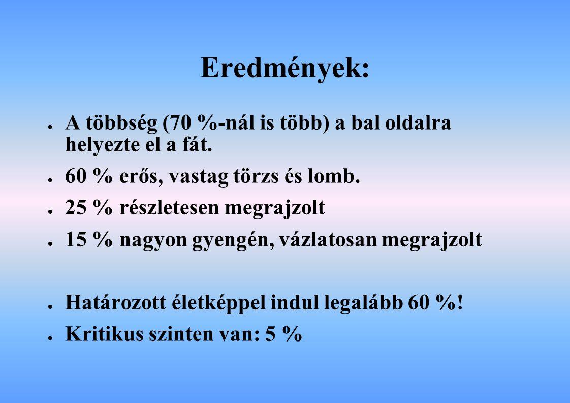 Eredmények: A többség (70 %-nál is több) a bal oldalra helyezte el a fát. 60 % erős, vastag törzs és lomb.