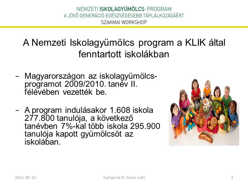 A Nemzeti Iskolagyümölcs program a KLIK által fenntartott iskolákban