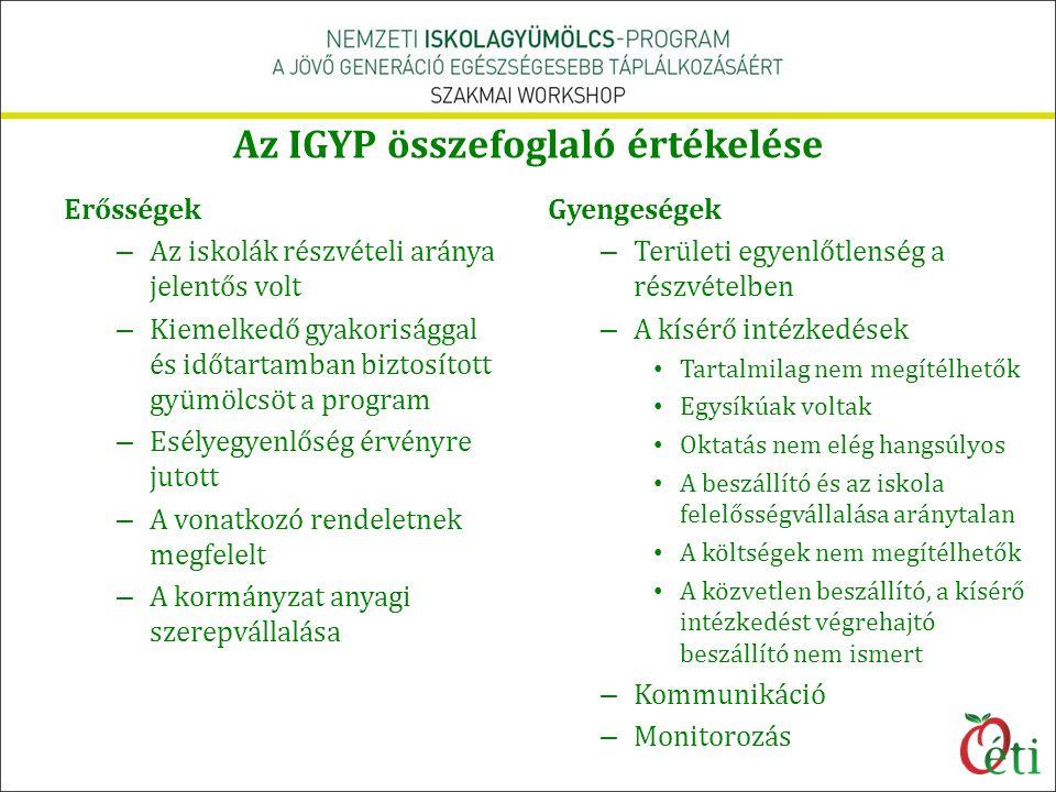 Az IGYP összefoglaló értékelése