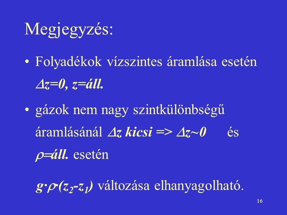 Megjegyzés: Folyadékok vízszintes áramlása esetén Dz=0, z=áll.