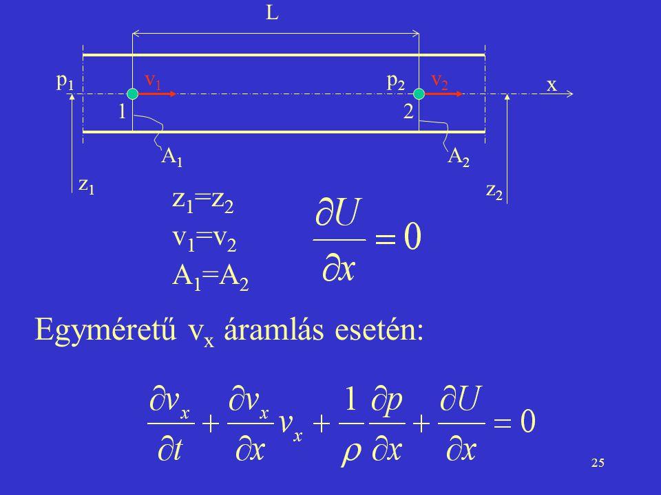 Egyméretű vx áramlás esetén: