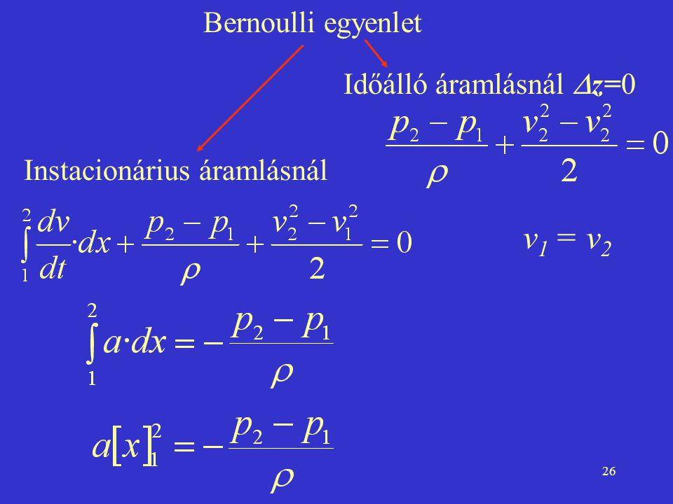 v1 = v2 Bernoulli egyenlet Időálló áramlásnál Dz=0