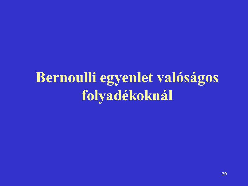 Bernoulli egyenlet valóságos folyadékoknál
