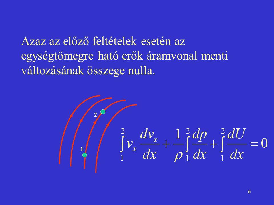 Azaz az előző feltételek esetén az egységtömegre ható erők áramvonal menti változásának összege nulla.