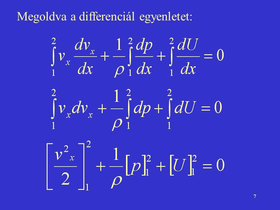 Megoldva a differenciál egyenletet:
