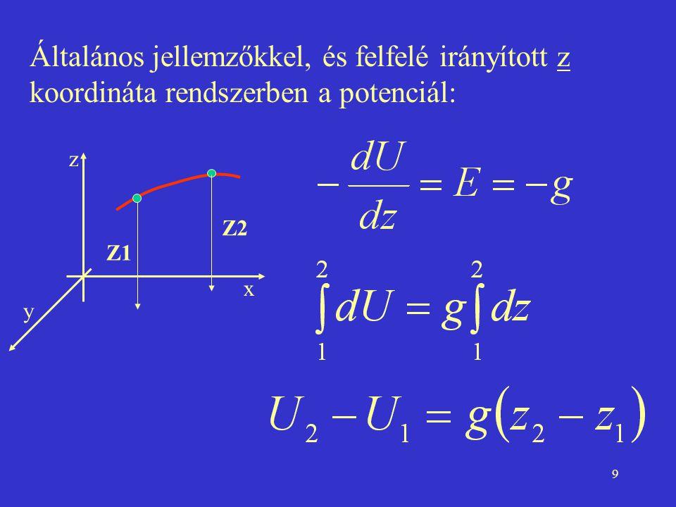 Általános jellemzőkkel, és felfelé irányított z koordináta rendszerben a potenciál: