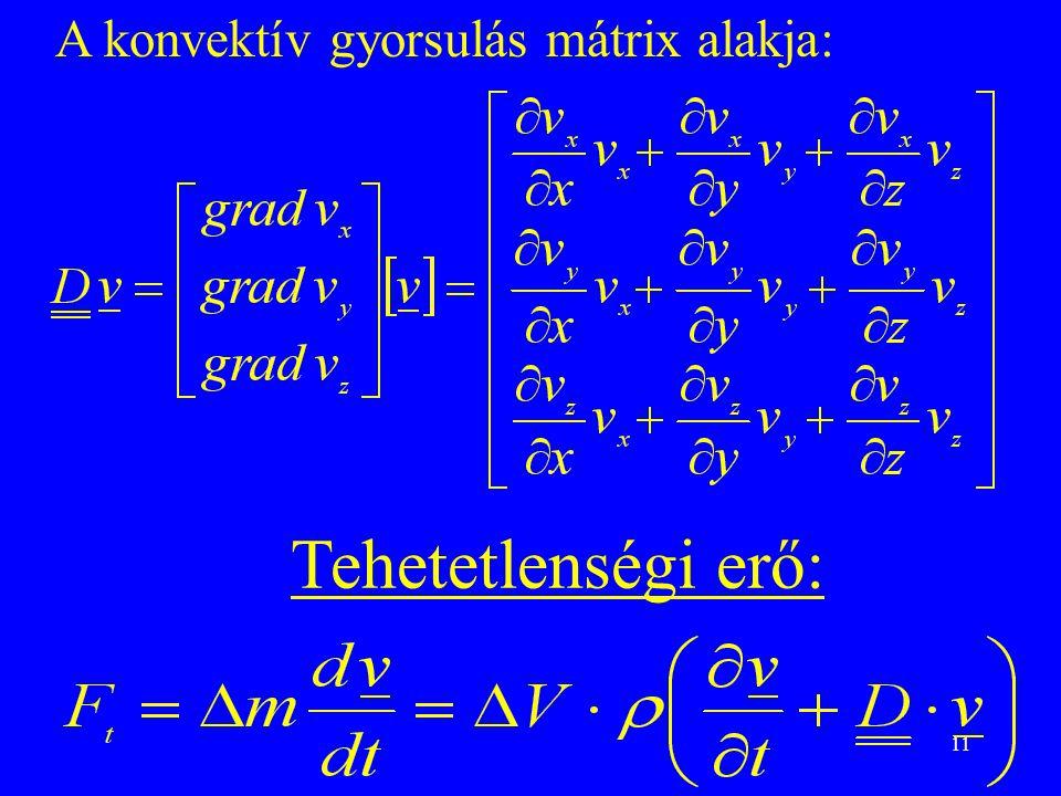 A konvektív gyorsulás mátrix alakja: