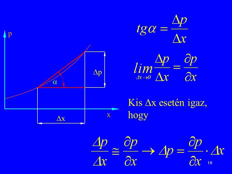 p p  Kis x esetén igaz, hogy x x