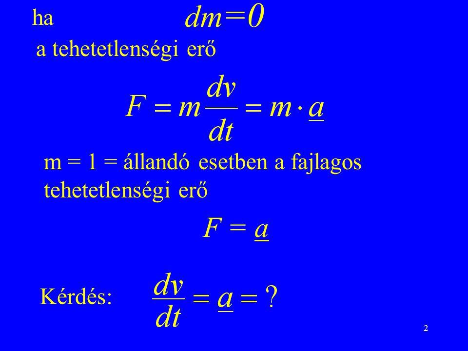 dm=0 F = a ha a tehetetlenségi erő