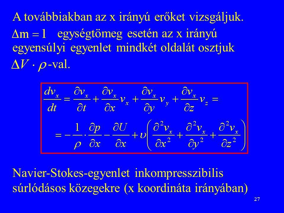 A továbbiakban az x irányú erőket vizsgáljuk.