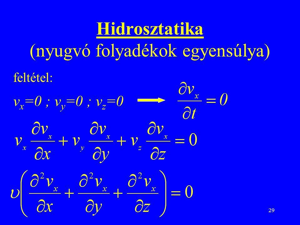 Hidrosztatika (nyugvó folyadékok egyensúlya)