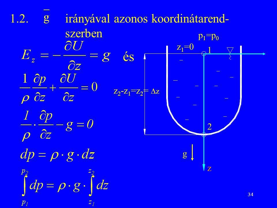 és 1.2. irányával azonos koordinátarend- szerben p1=p0 z1=0 1