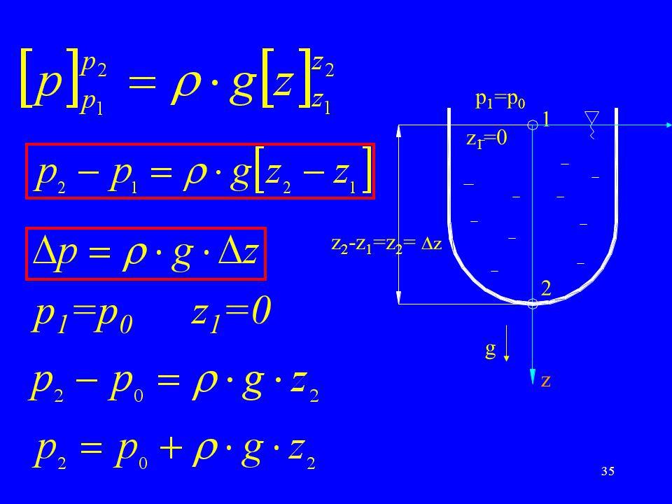 p1=p0 1 2 z1=0 z g z2-z1=z2= z p1=p0 z1=0