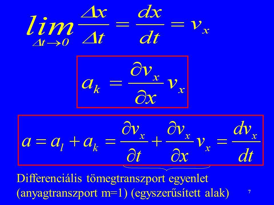 Differenciális tömegtranszport egyenlet (anyagtranszport m=1) (egyszerűsített alak)