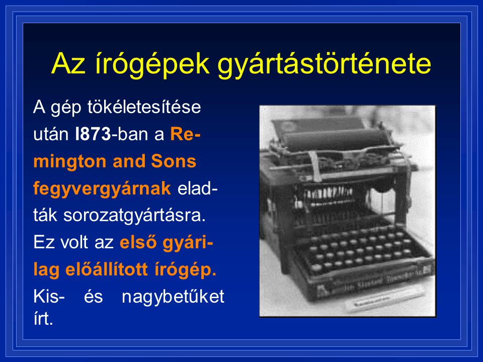 Az írógépek gyártástörténete