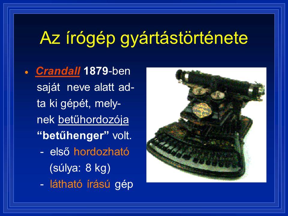 Az írógép gyártástörténete