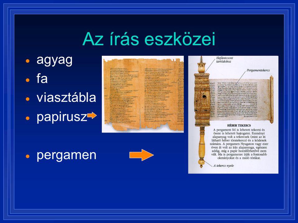 Az írás eszközei agyag fa viasztábla papirusz pergamen