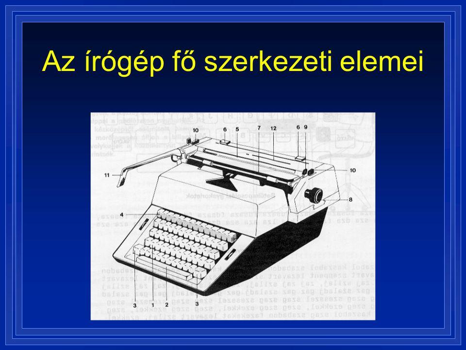 Az írógép fő szerkezeti elemei