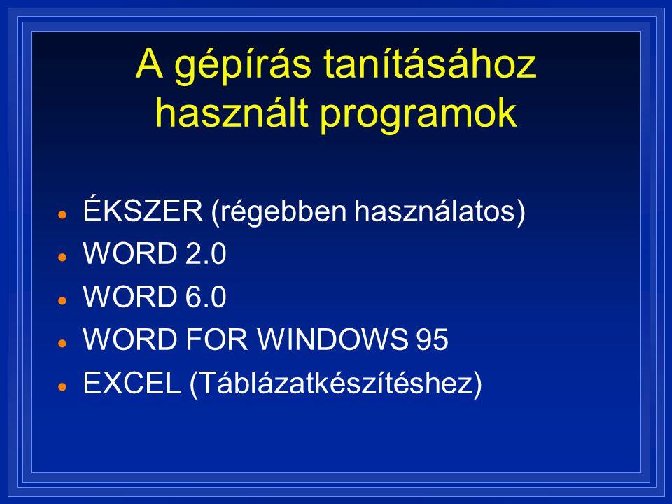 A gépírás tanításához használt programok
