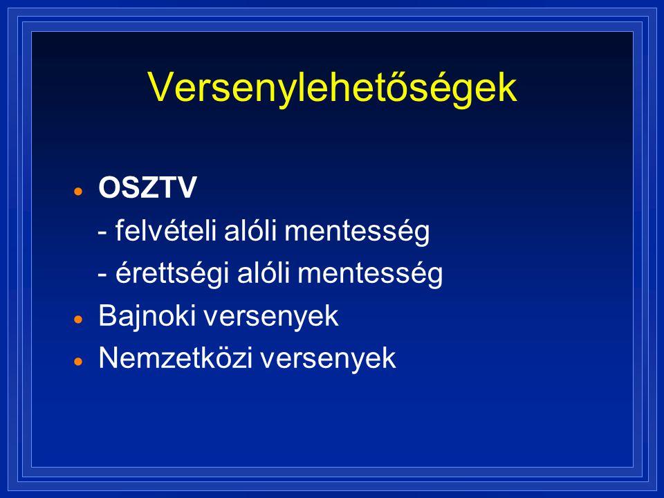 Versenylehetőségek OSZTV - felvételi alóli mentesség