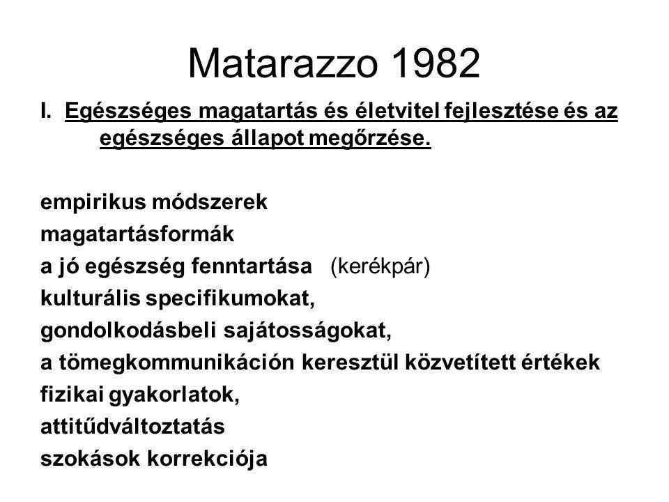 Matarazzo 1982 I. Egészséges magatartás és életvitel fejlesztése és az egészséges állapot megőrzése.